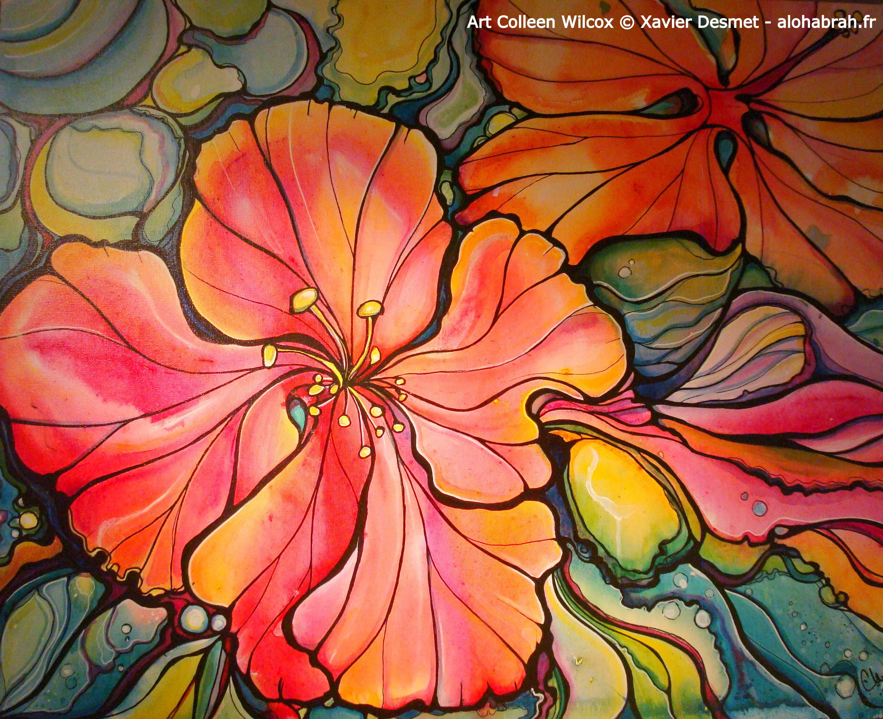 Hawaiian Flowers - Art Colleen Wilcox © Xavier Desmet - alohabrah.fr