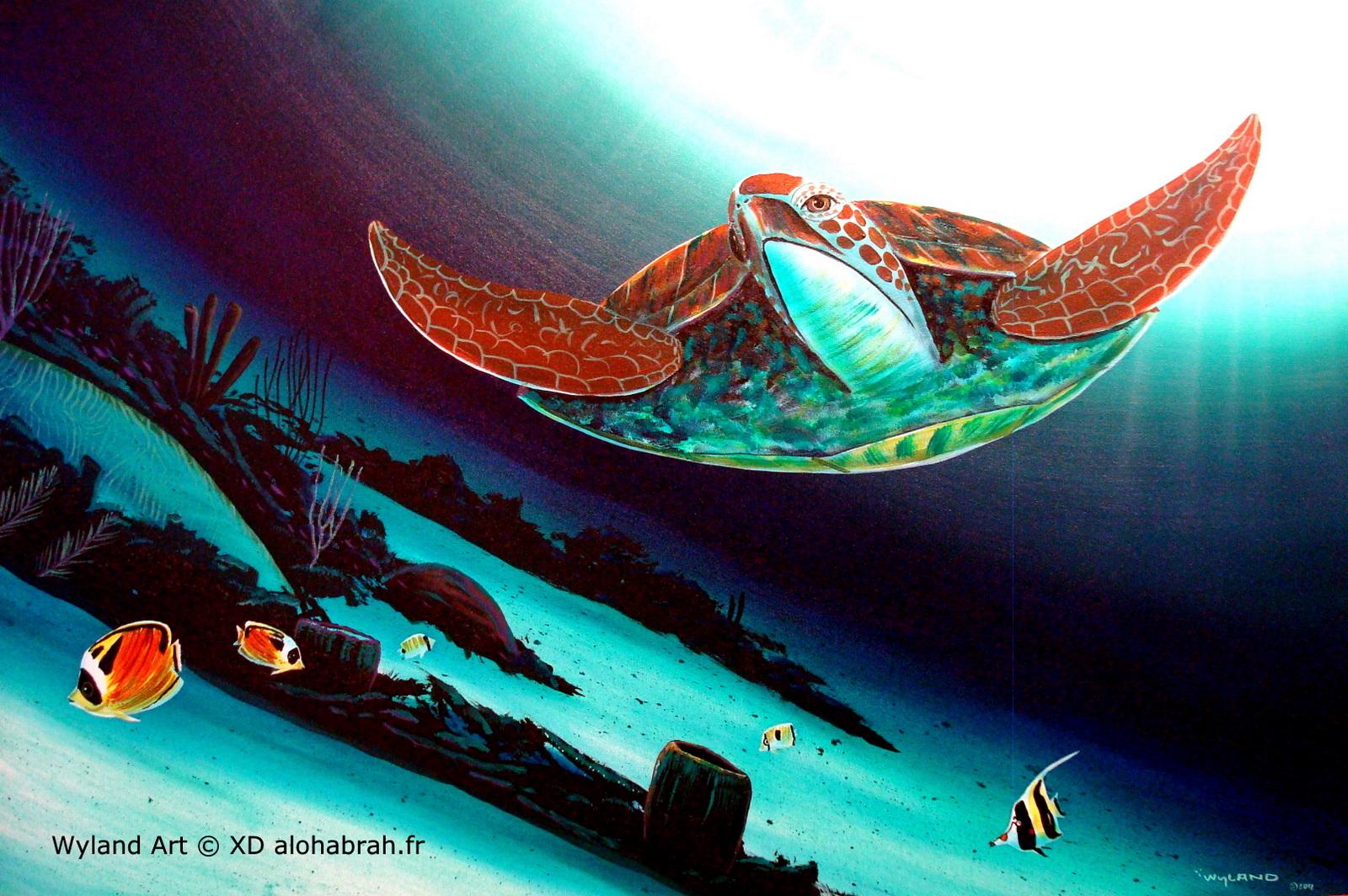 Hawaiian turtle - Wyland Art © XD alohabrah.fr