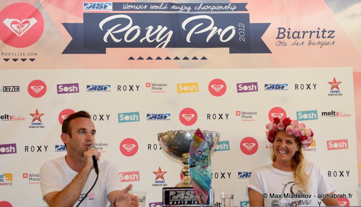 Conference de presse avec Stephanie Gilmore #5 World Champion @Roxy Pro 2012 Biarritz © Max Mladenov, alohabrah.fr