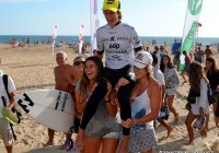 Johanne Defay, Cannelle Bulard, Maud Le Car et la gagnante Justine Dupont @EDP Surf Pro Carcavelos 2012 © Xavier Desmet - alohabrah.fr